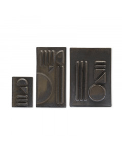 CERAMIC RELIEF WALL DECORATION SET/BLACK