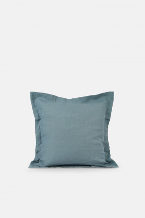 LINEN CUSHION COVER/GRAY BLUE